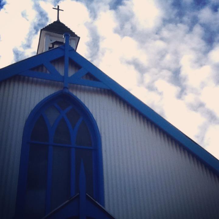 Tin church Hythe, clouds behind