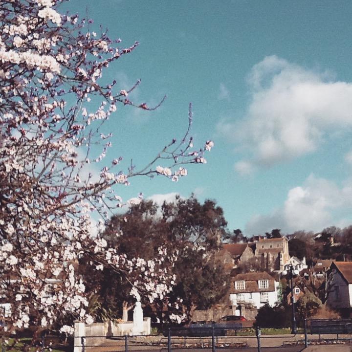Hythe, Kent springtime hillside view